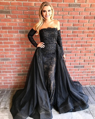 Elegant Black Lace Long Sleeve Evening Dress UK Long Sleeve Tulle Party Dress UK_4