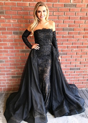 Elegant Black Lace Long Sleeve Evening Dress UK Long Sleeve Tulle Party Dress UK_1