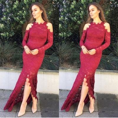 Luxury Long Sleeve Evening Dress UK | 2019 Mermaid Lace Prom Dress UK With Slit_3
