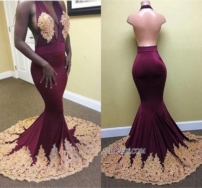 Elegant Backless Mermaid Halter Deep-V-Neck Appliques Prom Dress UK_1