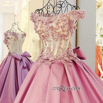 Off-the-Shoulder Puffy Beaded Applique Flowers Pink Prom Dress UKes UK With Bows_3