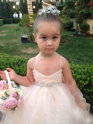Lovely Spaghetti Strap Tulle Princess Flower Girl Dress Bowknot_1