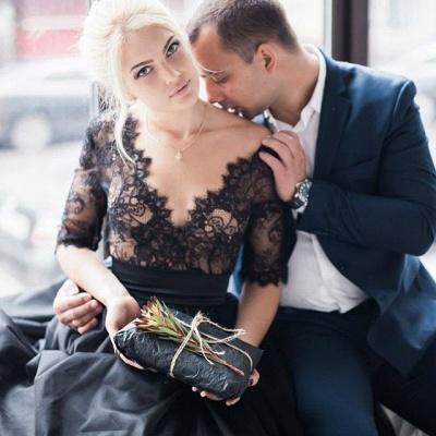 Gorgeous Half Sleeve Black Lace Evening Dress UK Tulle V Neck BA6916_5