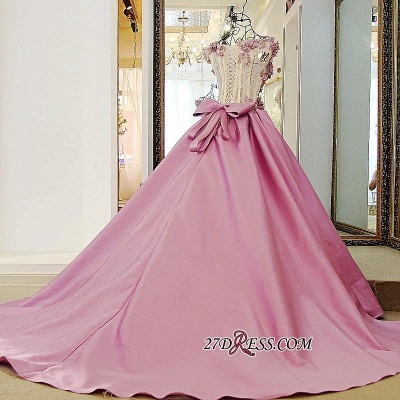 Off-the-Shoulder Puffy Beaded Applique Flowers Pink Prom Dress UKes UK With Bows_4