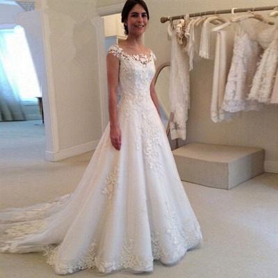Elegant Cap Sleeve Lace Appliques Wedding Dresses UK A-Line Zipper Button Bridal Gowns_3