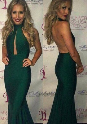 Luxury Green Halter Prom Dress UKes UK Mermaid Keyhole Party Gowns_1