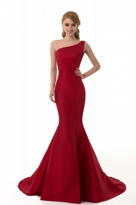 Elegant Burgundy One Shoulder Mermaid Prom Dress UK With Train_5