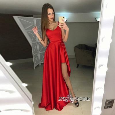 A-line Hi-Lo Sleeveless Red Modern Scoop Prom Dress UK_1