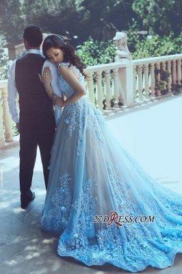 3D-Floral Appliques Luxury Sleeveless Blue A-line Prom Dress UKes UK_2