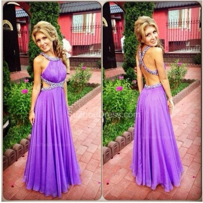 Purple A-Line Open Back Prom Gowns Criss-Cross Evening Dress UKes UK with Beadings_2
