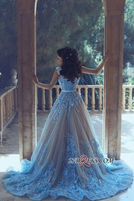 3D-Floral Appliques Luxury Sleeveless Blue A-line Prom Dress UKes UK_1