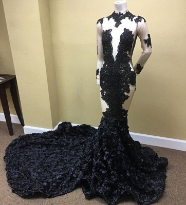 Elegant Black Long Sleeve Prom Dress UK | Lace Evening Gown With Flowers Bottom RM0_3