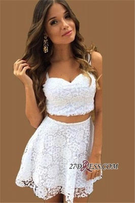 Lace A-line White Top Short Two-Piece-Summer-Women-Dress UK_3