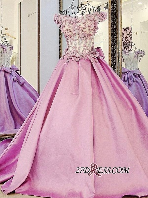 Off-the-Shoulder Puffy Beaded Applique Flowers Pink Prom Dress UKes UK With Bows_5