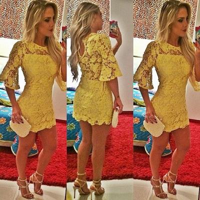 Elegant Short Yellow Cocktail Dress UK Lace Half Sleeve_2