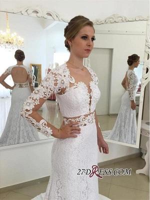 Lace Elegant Sexy Mermaid White Long-Sleeves Open-Back Appliques Wedding Dresses UK_2