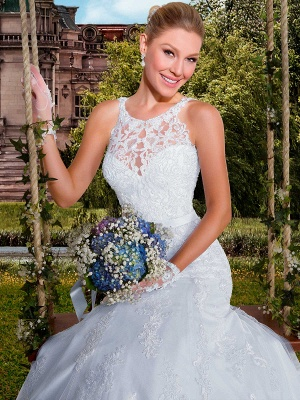 Delicate Illusion Sexy Mermaid Tulle Wedding Dress With Lace Appliques_2