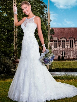 Delicate Illusion Sexy Mermaid Tulle Wedding Dress With Lace Appliques_1