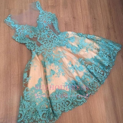 Short Tulle Sleeveless Appliques A-Line Newest Homecoming Dress UK_1