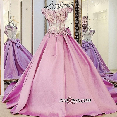 Off-the-Shoulder Puffy Beaded Applique Flowers Pink Prom Dress UKes UK With Bows_1