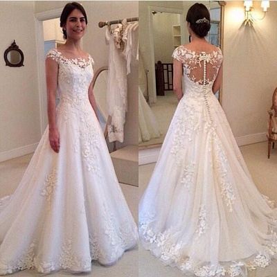 Elegant Cap Sleeve Lace Appliques Wedding Dresses UK A-Line Zipper Button Bridal Gowns_4