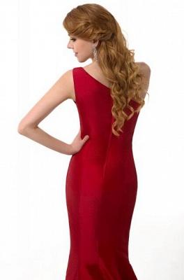 Elegant Burgundy One Shoulder Mermaid Prom Dress UK With Train_9