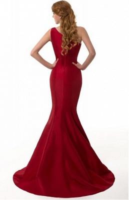 Elegant Burgundy One Shoulder Mermaid Prom Dress UK With Train_7
