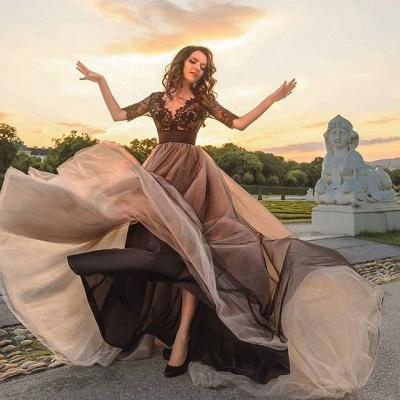 Gorgeous Half Sleeve Black Lace Evening Dress UK Tulle V Neck BA6916_3