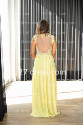 Long Vestido De Festa Longo Lace Evening Dress UKes UK Chiffon Yellow Cap Sleeve Pearls Prom Dress UK With High Collar_2