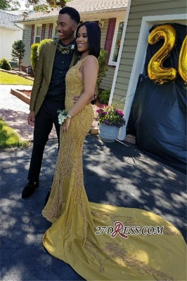 Yellow sequins prom Dress UK, mermaid party gowns_2