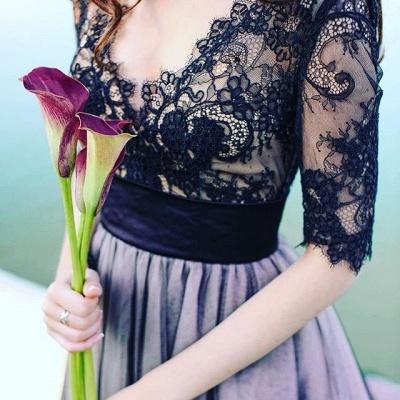 Gorgeous Half Sleeve Black Lace Evening Dress UK Tulle V Neck BA6916_4