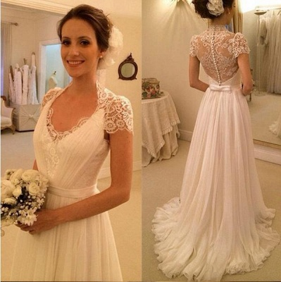 Elegant Scoop Neckline Cap Sleeve  Wedding Dress With Lace_2