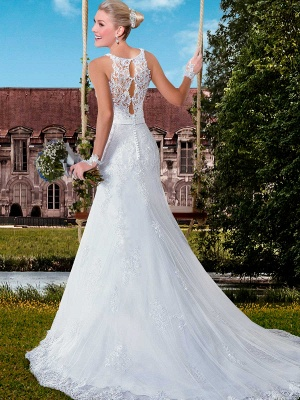 Delicate Illusion Sexy Mermaid Tulle Wedding Dress With Lace Appliques_3