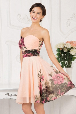 Sexy Summer Beach Short Homecoming Dress UKes UK Print Chiffon Sweetheart Pleats Prom Dress UKes UK_3