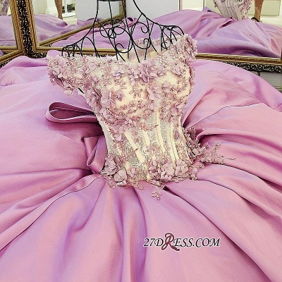Off-the-Shoulder Puffy Beaded Applique Flowers Pink Prom Dress UKes UK With Bows_2