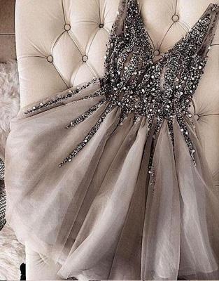 A-Line Shiny Beading Homecoming Dress UKes UK   V-Neck Sleeveless Cocktail Dress UKes UK_1