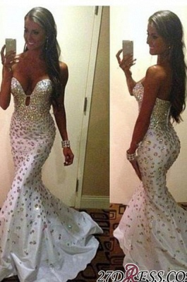 Sweetheart Sleeveless Luxury Zipper Crystals Mermaid Sweep-Train Prom Dress UK BK0_2