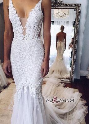 Appliques V-Neck Elegant Sexy Mermaid Open-Back Wedding Dress BA4391_1