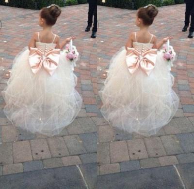 Lovely Spaghetti Strap Tulle Princess Flower Girl Dress Bowknot_3
