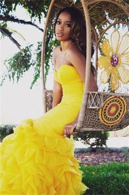 Luxury Sweetheart Yellow Prom Dress UKes UK Mermaid With Train BK0_1