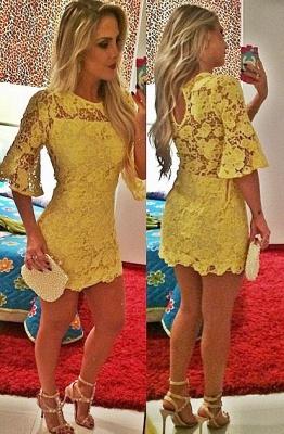 Elegant Short Yellow Cocktail Dress UK Lace Half Sleeve_1