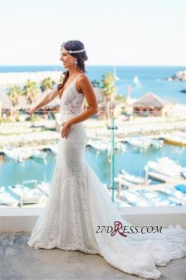 Sleeveless Sexy Mermaid  Deep-V-Neck Lace Wedding Dress_3