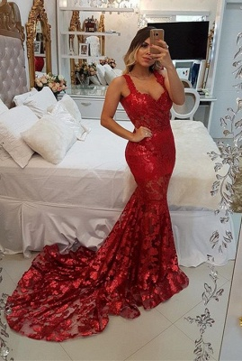 Modest Red Straps Mermaid Sweep Train Evening Dress UK | Lace Party Gown_1