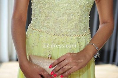 Long Vestido De Festa Longo Lace Evening Dress UKes UK Chiffon Yellow Cap Sleeve Pearls Prom Dress UK With High Collar_5