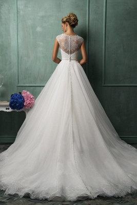 Elegant Illusion Cap Sleeve Tulle Wedding Dress With Lace Appliques_2