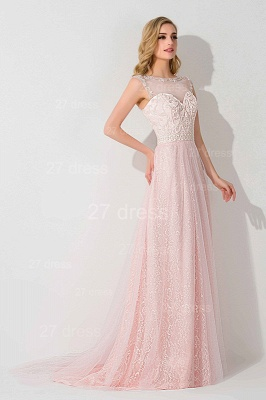 Gorgeous Illusion Pink A-line Evening Dress UK Sweep Train_2