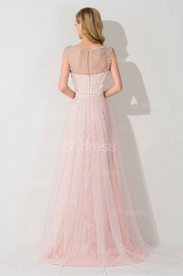 Gorgeous Illusion Pink A-line Evening Dress UK Sweep Train_3