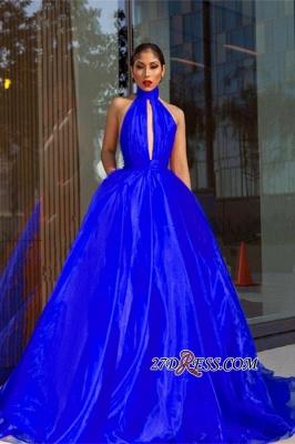 Royal-Blue Tulle Evening Dress UK | High-Neck Prom Dress UK_3