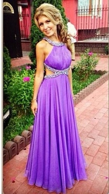 Purple A-Line Open Back Prom Gowns Criss-Cross Evening Dress UKes UK with Beadings_1