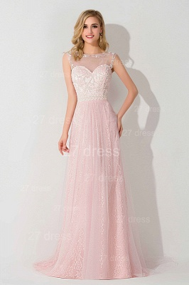 Gorgeous Illusion Pink A-line Evening Dress UK Sweep Train_1